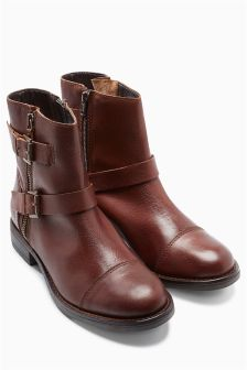 Leather Washed Biker Boots