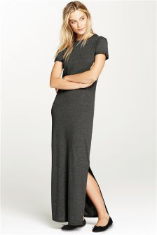 Charcoal Short Sleeve Maxi Dress