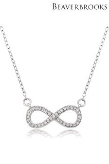 Beaverbrooks Silver Infinity Cubic Zirconia Necklace