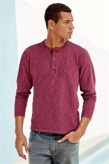 Burgundy Long Sleeve Garment Dyed Grandad