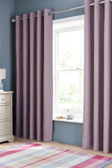 Lilac Lined Cotton Eyelet Curtains