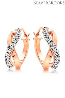 Beaverbrooks 9ct Rose Gold Cubic Zirconia Hoop Earrings