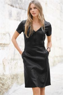 Black Leather Look Dress