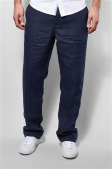 Regular Fit Linen Drawstring Trousers