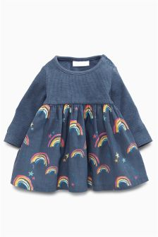 Navy Rainbow Print Dress (0mths-2yrs)