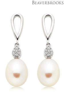 Beaverbrooks Silver Fresh Water Pearl Cubic Zirconia Drop Earrings