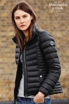 Black Abercrombie & Fitch Down Series Lightweight Puffer Jacket