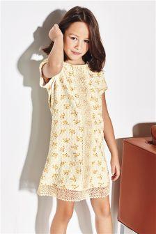 Oatmeal Floral Ponte Dress (3-16yrs)