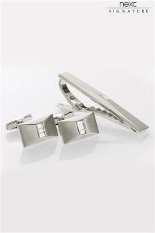Silver (Metal) Signature Diamanté Cufflinks And Tie Clip Set