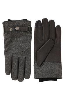 Grey Herringbone Leather Gloves