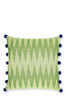 Green Woven Chevron Cushion