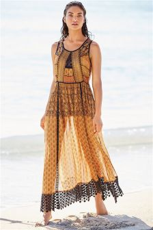 Mixed Print Lace Maxi Dress