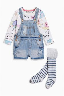 Denim Dungaree, T-Shirt And Tights Set (3mths-6yrs)