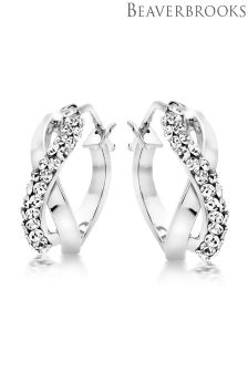 Beaverbrooks 9ct White Gold Cubic Zirconia Hoop Earrings
