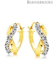 Beaverbrooks 9ct Gold Cubic Zirconia Hoop Earrings