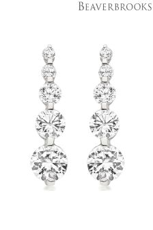 Beaverbrooks 9ct White Gold Cubic Zirconia Drop Earrings
