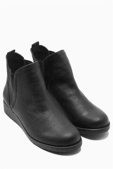 Black Casual Chelsea Wedge Boots