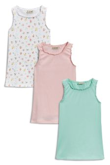 Floral, Pink, And Mint Lace Trim Vests Three Pack (3-16yrs)