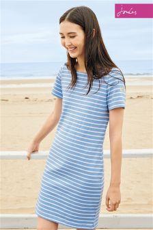 Haze Blue Joules Riviera Stripe Jersey T-Shirt Dress