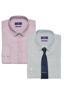 Blue Printed Shirts And Tie Set Two Pack