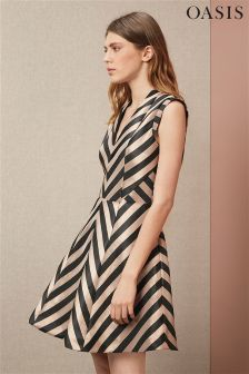 Black & Pink Oasis Stripe Fit And Flare Dress