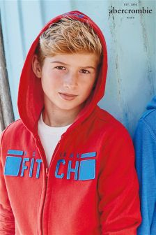 Red Abercrombie & Fitch Zip Through Hoody