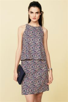 Ditsy Print Linen Blend Layer Dress