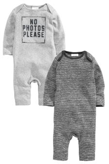 Grey 2 Pack Rompers (0-18mths)