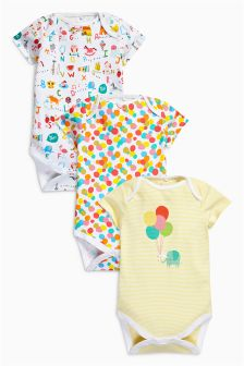 All-Over Print Short Sleeve Bodysuits Three Pack (0mths-2yrs)