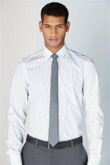 White & Blue Preston Striped Shirt and Tie Set