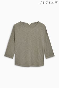 Jigsaw Green Cotton Slub Slouchy Tee