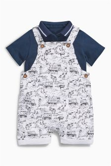 White/Blue Linen Blend Print Dungarees With Bodysuit (0mths-2yrs)