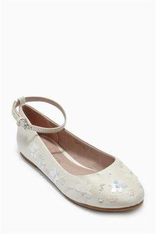 Ivory Flower Bridesmaid Shoes (Older Girls)