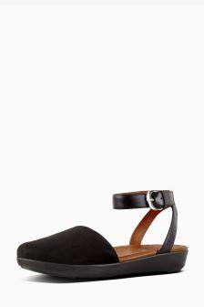 FitFlop™ Black Suede Cova Closed Toe Sandal