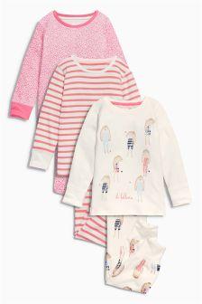 Pink Bunny Snuggle Pyjamas Three Pack (12mths-7yrs)