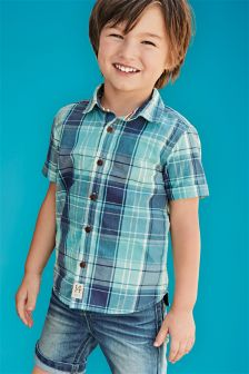 Teal Short Sleeve Check Shirt (3mths-6yrs)