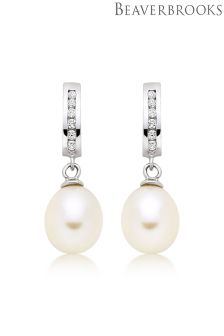 Beaverbrooks Silver Cubic Zirconia Fresh Water Cultured Pearl Earrings