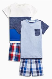 Check Short Pyjamas Two Pack (3-16yrs)