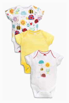 Yellow Sunshine Short Sleeve Bodysuits Three Pack (0mths-2yrs)