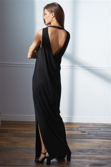 Black Cowl Back Maxi Dress