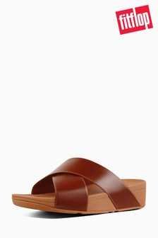 FitFlop™ Caramel Leather Lulu™ Cross Slide Sandal
