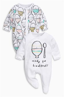 Egg Print Sleepsuits Two Pack (0mths-2yrs)