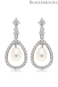 Beaverbrooks Silver Cubic Zirconia Fresh Water Pearl Drop Earrings