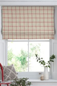 Red Windowpane Check Roman Blind
