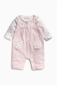 Pink Strawberry Dungarees With Bodysuit (0mths-2yrs)