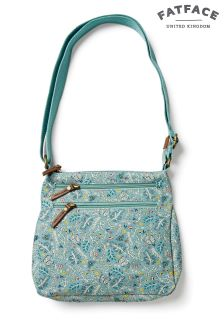 FatFace Green Multi Floral Canvas Cross Body Bag