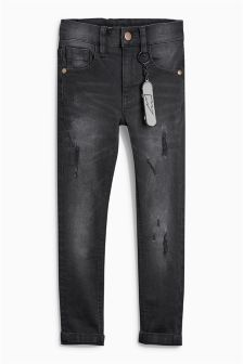Black Super Skinny Distressed Jeans With Keyring (3-16yrs)