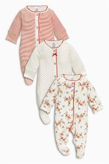Red Sleepsuits Three Pack (0mths-2yrs)