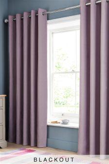 Lilac Blackout Cotton Eyelet Curtains