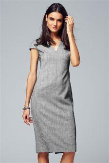 Grey Puppytooth Dress